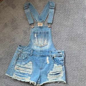 Highway Jeans Cut Off Overalls Size Medium